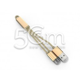 LLC89 LDNIO Cavo USB 2 In 1 In Tessuto metallico Flessibile - Gold