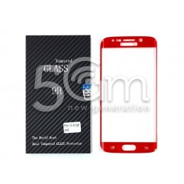 Premium Tempered Glass Protector Red Samsung SM-G925 S6 Edge