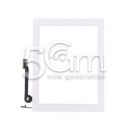 Touch Screen Bianco + Tasto Home Completo + Adesivo iPad 4